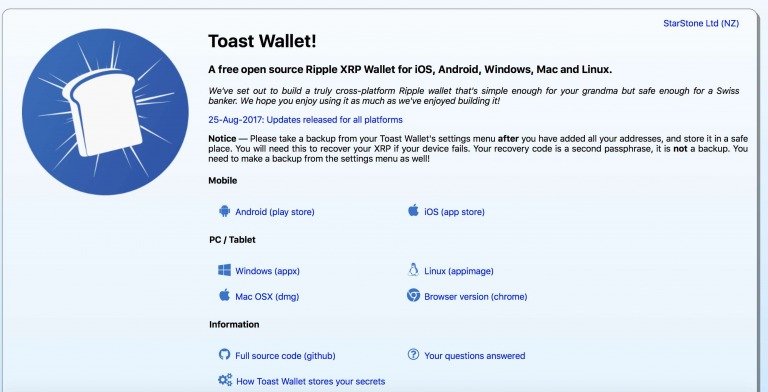 Portefeuille toast xrp